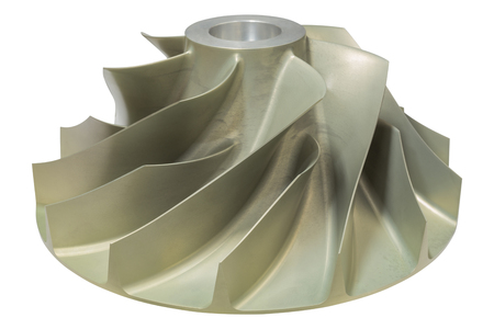 Photo pour Gas turbine blade,Isolate object of gas turbo blade,function of gas compressor to compress natural gas to high pressue. - image libre de droit
