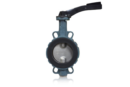 Foto de Butterfly valve type used in oil and gas industry isolated on white background. - Imagen libre de derechos