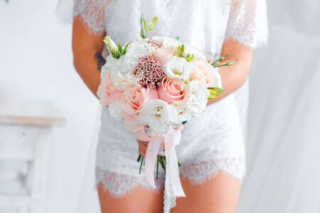 Photo for Delicate classic wedding bouquet of roses for the bride. Wedding flowers. - Royalty Free Image