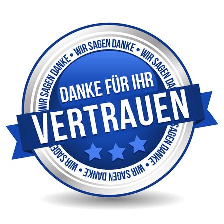 Siegel Button Banner - Danke fÃŒr Ihr Vertrauen - in blau und silber