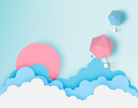 Illustration for Hot air balloon paper art style with pastel sky background vector illustration - Royalty Free Image