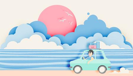 Illustration pour Road trip on the beach with paper art style and pastel color scheme vector illustration - image libre de droit