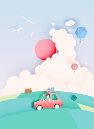 Illustration pour Road trip with car and natural pastel color scheme backgroud paper cut style vector illustration - image libre de droit