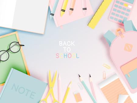 Ilustración de Various stationery for back to school in paper art style with pastel color vector illustration - Imagen libre de derechos