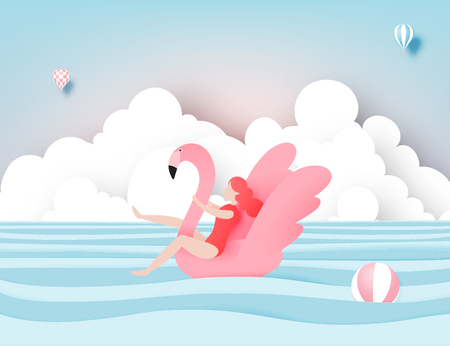 Illustration pour Girl floating on the beach with flamingo with beautiful sea background paper cut style vector illustration - image libre de droit
