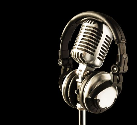 On The Air!! Professional 'Retro' Microphone & DJ Headphones (with clipping path for easy background removing if needed)