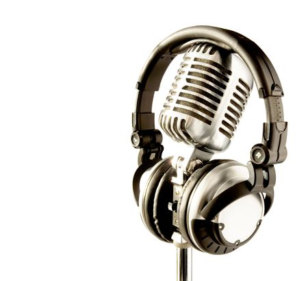 Professional 'Retro' Microphone & DJ Headphones (with clipping path for easy background removing if needed)