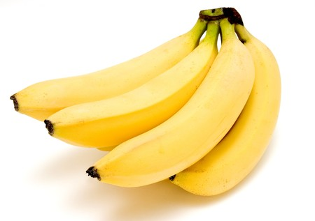 bunch of bananas on white background with path