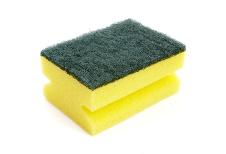 close up of kitchen sponge fot do the dishes on white background with path