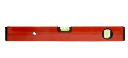 close up of spirit level for construction workers on white background with path