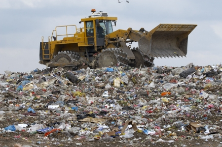 overview of refuse collection with bulldozer