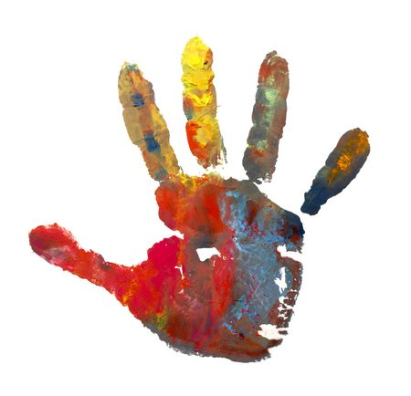 close up of child  hands painted with watercolors mark on white background