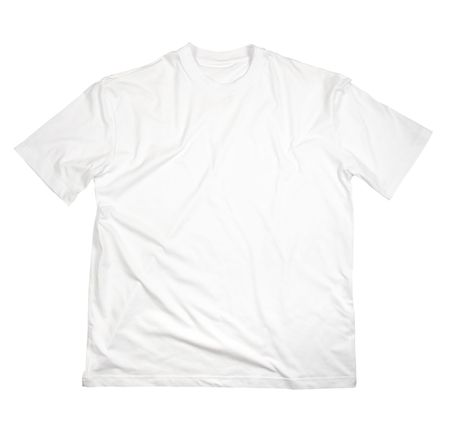 close up of on a t shirt on white background with clipping