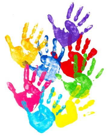 collection of colorful child hand prints  on white background