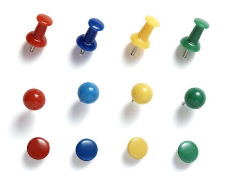 close up of various pushpins