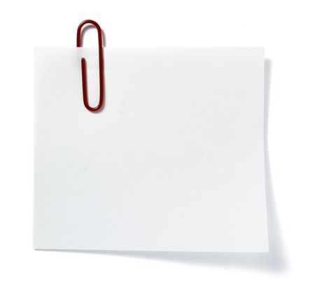 close up of post it reminder with red push pinon white background with clipping path