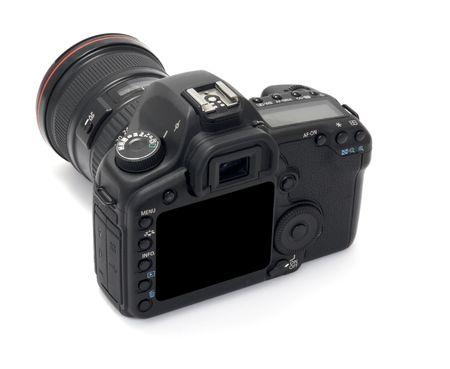 close up of digital dslr camera  on white background