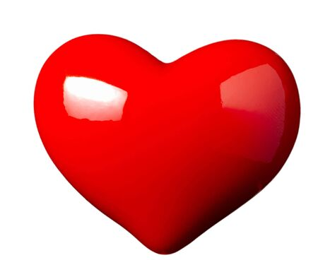 close up of red heart shape object on white background