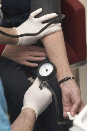 close up of blood pressure  monitoring in lab