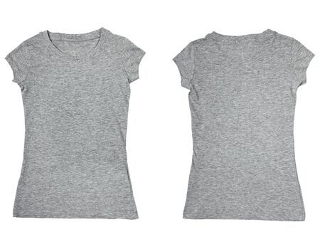 collection of a blank t-shirts on white background. each one is shot separately