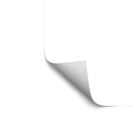close up of a blank white page on white background