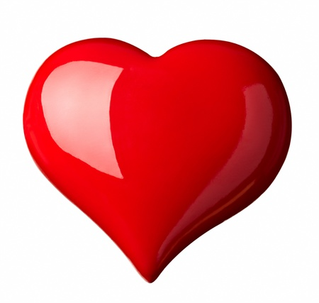 close up red heart shape symbol on white background