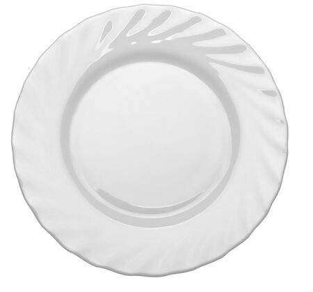 close up  of an empty white plate on white background