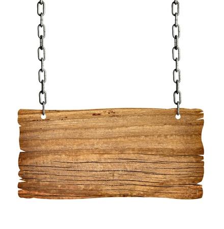 Photo pour close up of  a wooden sign with chain onwhite background  - image libre de droit