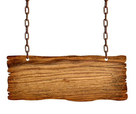close up of  a wooden sign with chain onwhite background