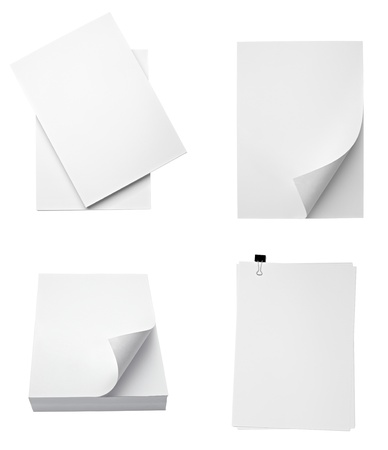 collection of various stacks of papers on white background. each one is shot separately