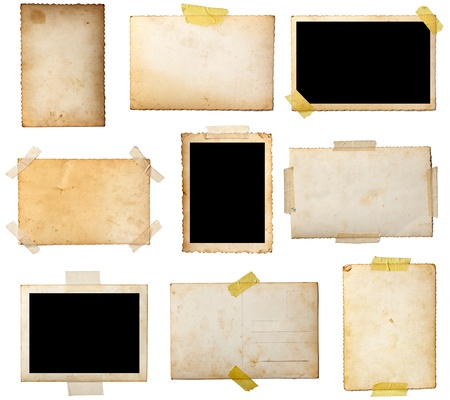 collection of various  old photos on white background. each one is shot separately