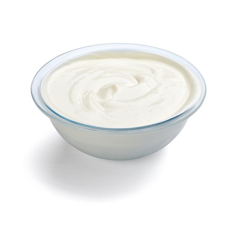 close up of sour cream or beauty cream on white background