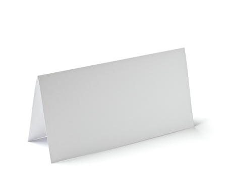 close up of  a folded card on white background