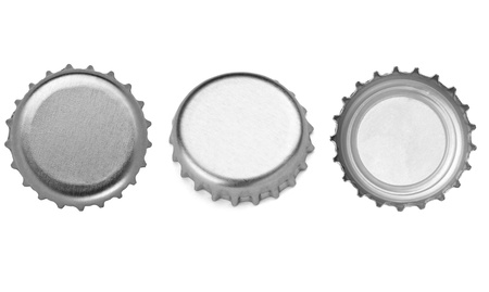 collection of  various bottle cap on white background. each one is shot separately