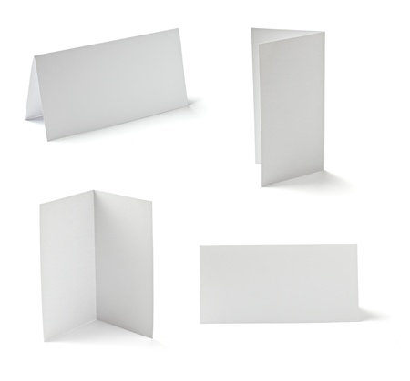 collection of  various folded cards on white background. each one is shot separately