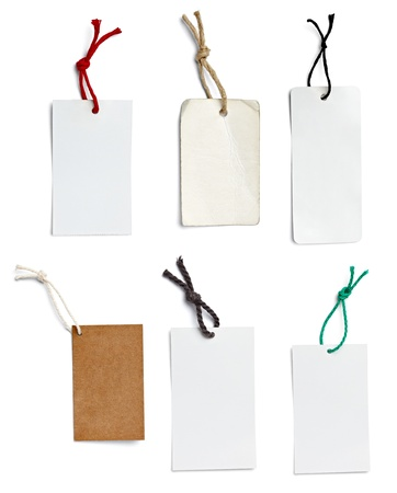 collection of  various price labels on white background. each one is shot separately
