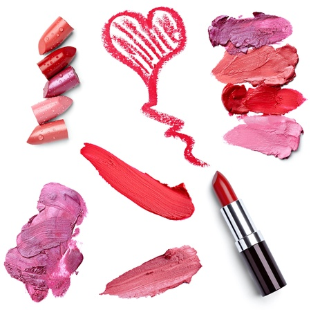collection of  various lipstick on white background. each one is shot separately