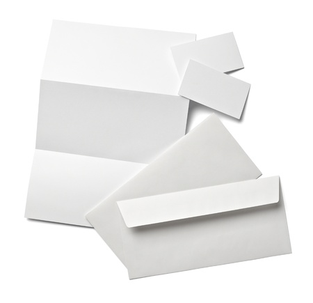 collection of various  blank white paper on white background with clipping path