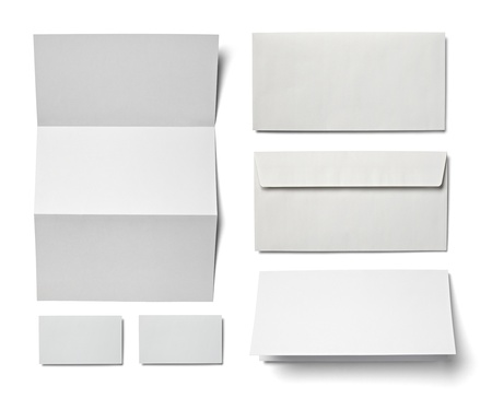collection of various  blank white paper on white background  each one is shot separately