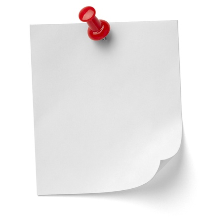 close up of a note paper with push pin