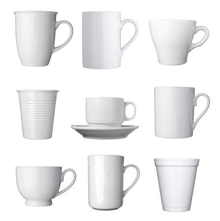collection of various white coffee cups on white background  each one is shot separately