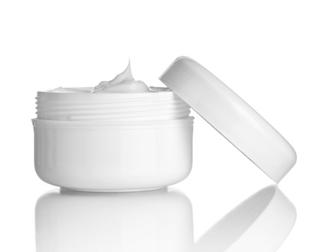 close up of  beauty cream container on white background