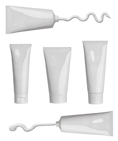 collection of various beauty cream strokes and tubes on white background. each one is shot separately