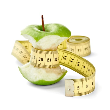close up of  an apple measuring tape on white background