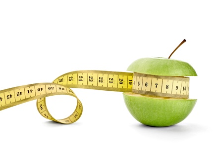 close up of  an apple measuring tape on white background with clipping path