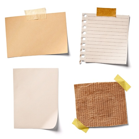 collection of  various vintage note papers on white background.