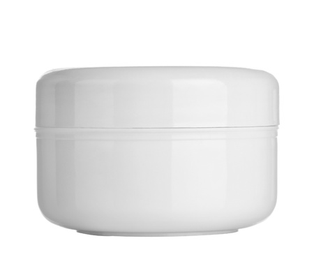 close up of  beauty hygiene container on white background