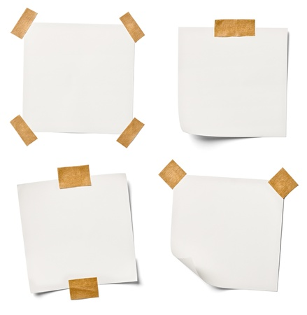 collection of  various white note papers on white background  each one is shot separately