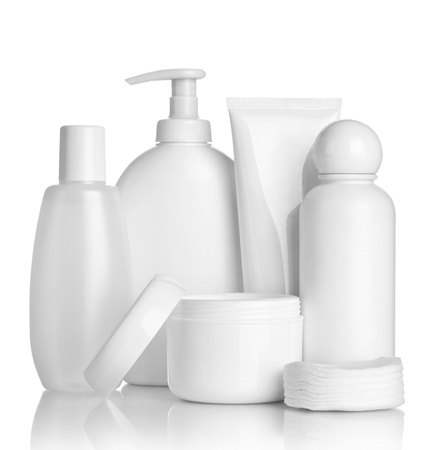Photo pour close up of  beauty hygiene container on white background   - image libre de droit