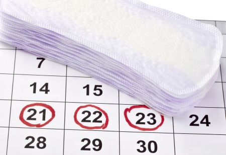close up of woman hygiene protection on a calendar